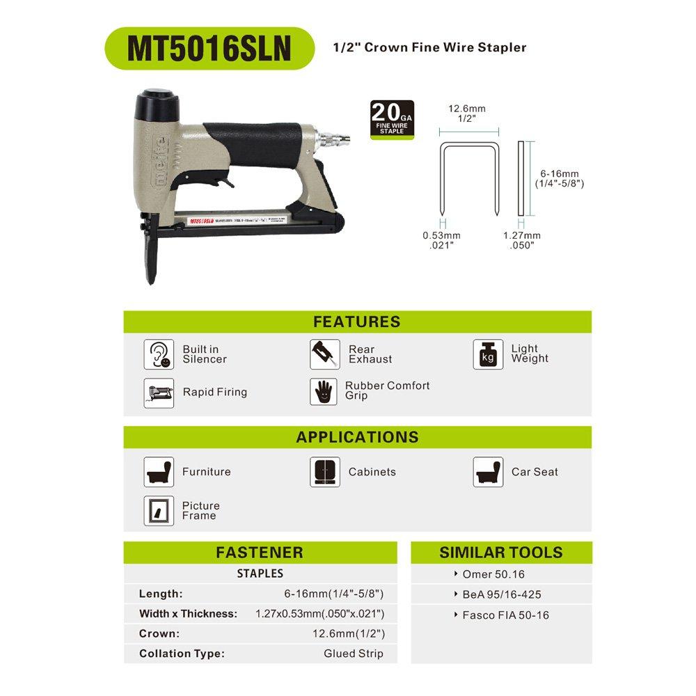 meite MT5016SLN Upholstery Stapler- 20 Gauge 1/2-Inch Crown Pneumatic Long Nose Stapler Fine Wire Stapler With Safety (1/4'' TO 5/8'' #MT5016SLN)
