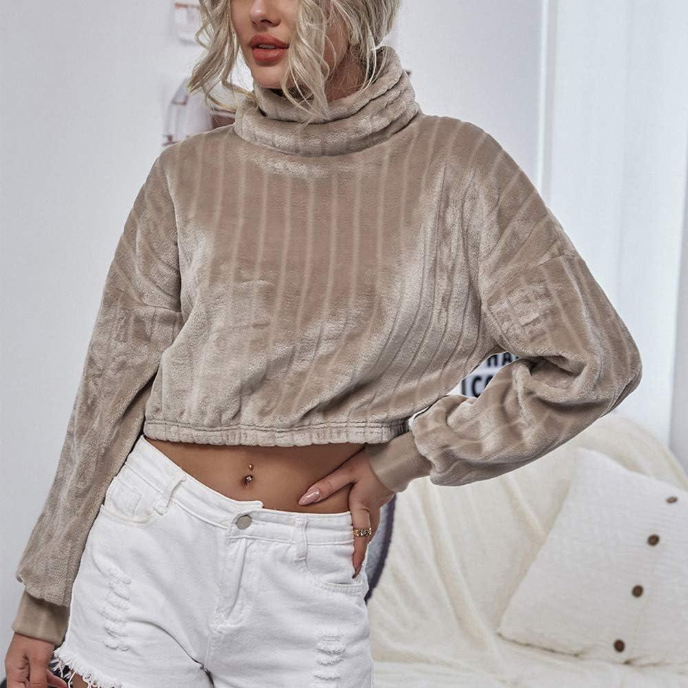 TRGCJGH Sweatshirt Plus Fleece Short Cropped Sweater Plüsch Langarm High Neck Damenpullover,Khaki-M Khaki-xl