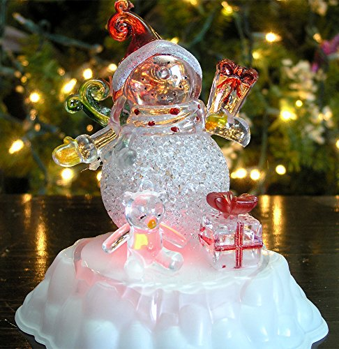 snowman christmas decorations color changing led acrylic winter snowman figurine tabletop snowman decoration
