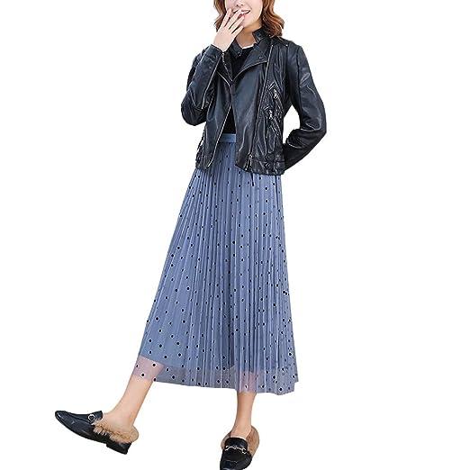 Greetuny Maxi Falda Plisada Mujer Falda Tul Terciopelo de Cintura ...