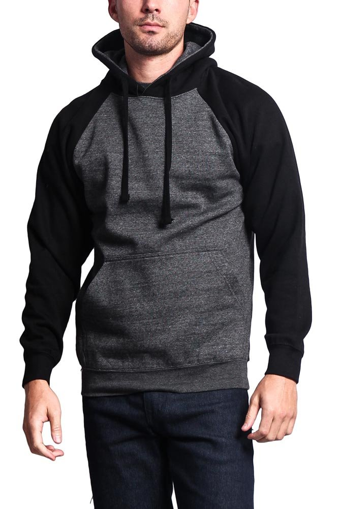 G-Style USA Heavyweight Contrast Raglan Sleeve Pullover Hoodie MH13112 - Charcoal/Black - Large - AA8A