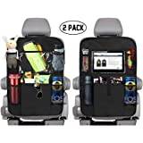 """KNGUVTH Backseat Car Organizer Kick Mats, Car Seat Back Protectors with Clear 10"""" Tablet Holder + 5 Storage Pockets Back seat Organizer for Kids Toy Bottle Drink Vehicles Travel Accessories (2 Pack)"""
