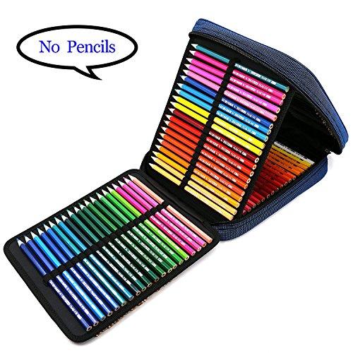 E-Bestar 120 Trous Trousse de Crayon Grand Capacité Multi-fonction Pliable Sac de Crayon Maquillage Sac ( Sans Crayons , Seulement Trousse à Crayons ) (Bleu)