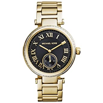 3e0305de2035 Image Unavailable. Image not available for. Color  Michael Kors MK5989  Ladies Skylar Black Gold Watch