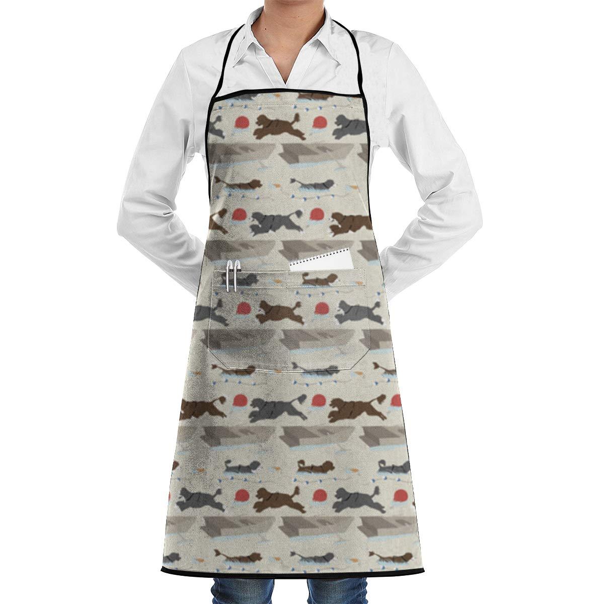 FUNINDIY ビブエプロン ポケット付き ポルトガル製 キュート ウォータードッグ キッチンエプロン 防水 料理 ベーカーサーバー BBQ 20インチ X 28インチ   B07M663JH1