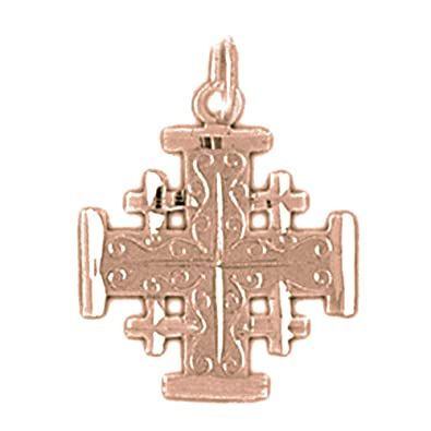 Amazon 14k rose gold jerusalem cross pendant 22 mm jewelry 14k rose gold jerusalem cross pendant 22 mm aloadofball Images