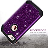 Pandawell Compatible iPhone 6s Case, iPhone 6 Case, Glitter Sparkle Bling Heavy Duty Hybrid Sturdy Armor High Impact Shockproof Protective Cover Case for Apple iPhone 6s/6, Shiny Purple/Black