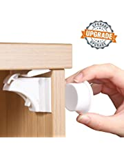 Baby Proofing Child Safety Cabinet Locks by NANAPLUMS Magnetic Baby Locks for Kitchen Drawers, Cupboards & Closets (10 Locks+2 Keys) with Extra-Strong Supporter …