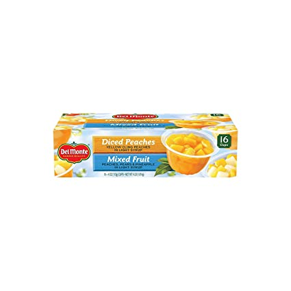 Del Monte Mixed Fruitpeaches Snack Cup 16 Cups Net Wt 4 Pound