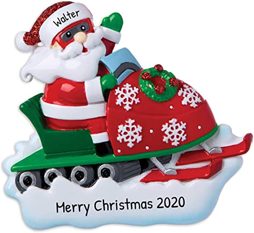 Rough Rider 2020 Merry Christmas Amazon.com: Personalized Santa on Snowmobile Christmas Tree