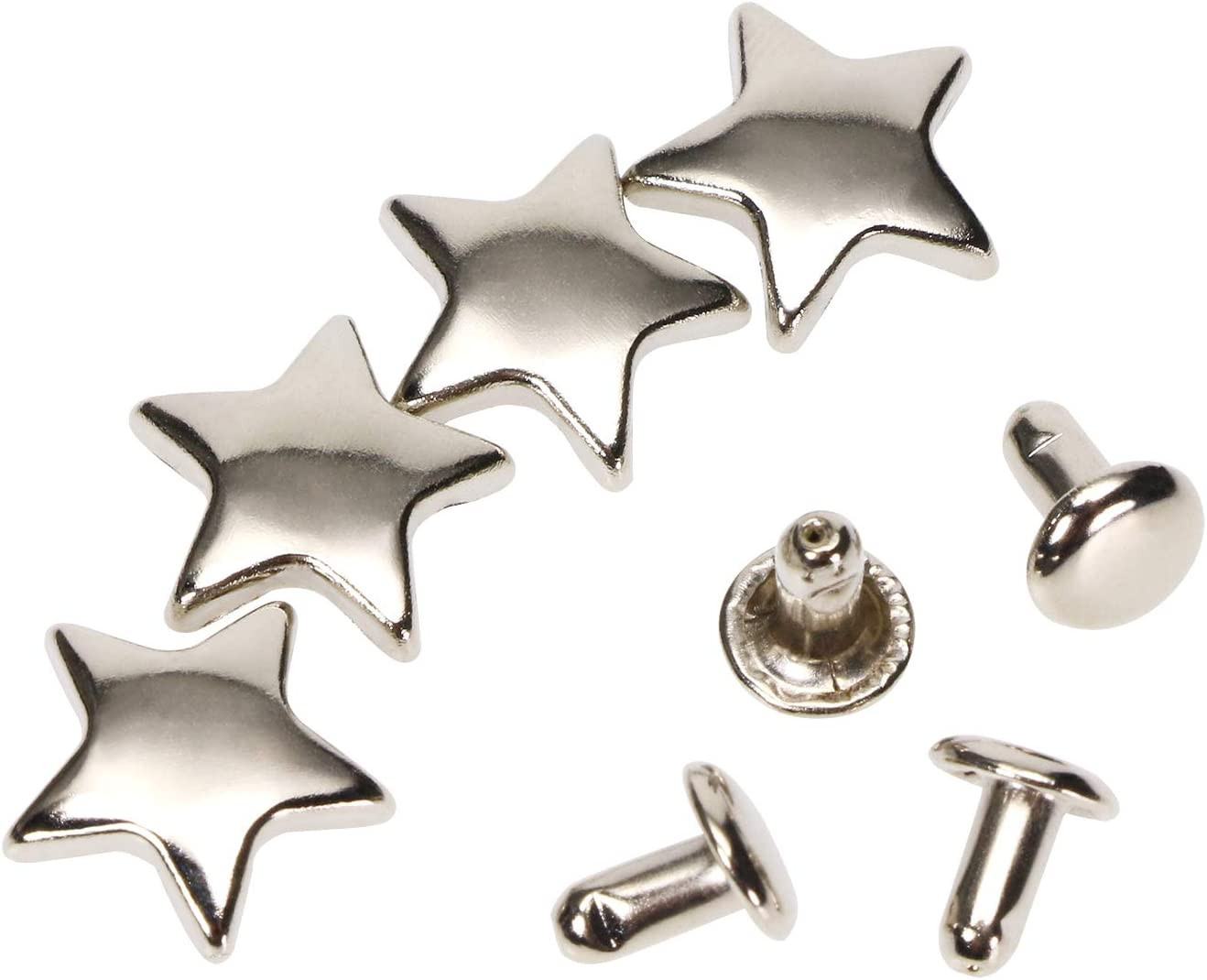 ONLYKXY 50 Pieces 12MM Star Rivets for Leather Spikes for Clothing Black Rivet Studs for Clothing