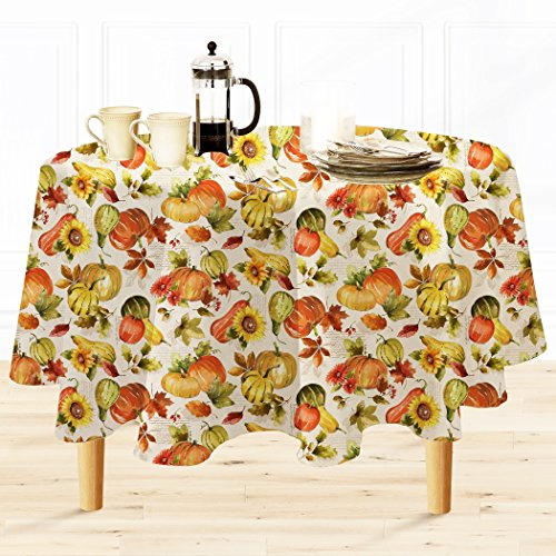 Shabby Chic Harvest Print Fabric Tablecloth, No Iron and Stain Resistant, 70 Inch Round
