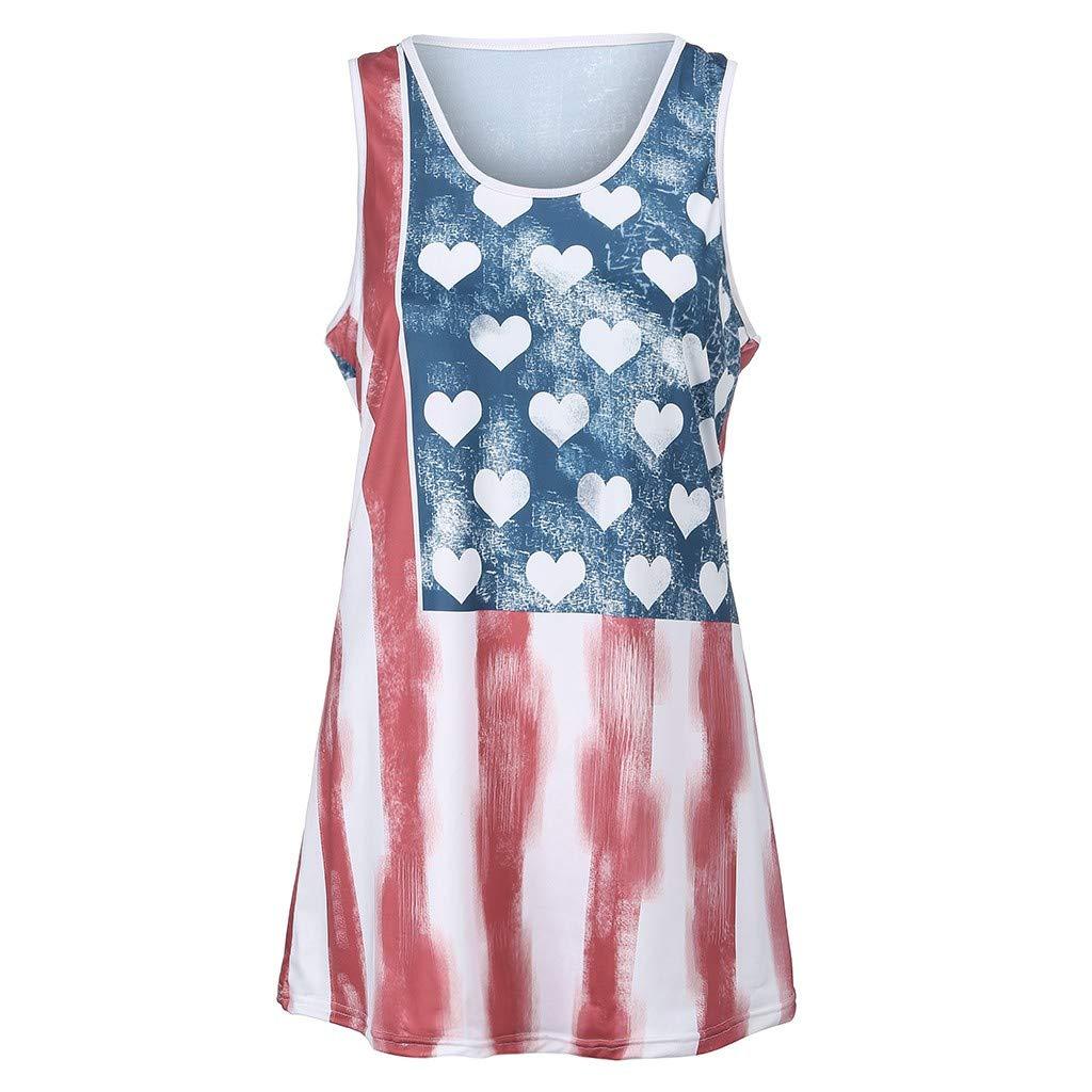 ❤SU/&YU❤Womens Sleeveless Vest Patriotic Stripes Love Print American Flag Print Tank Top