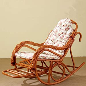 Boyishengshi Luxury Rocking Chair with Cushions Rattan Wicker Furniture Indoor Living Room Glider Recliner Modern Rattan Easy Chair,A