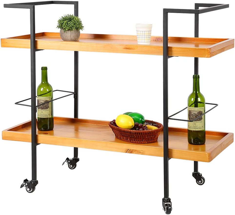 Serving Trolley Bar Cart Trolley 2-Tier Kitchen Food and Drink Trolley Display Shelf Utility Tea Station Side Table Stand with Wide Wood Storage Shelves and Lockable Castors for Home, Living Room