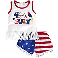Mikrdoo July 4th Baby Outfit Toddler Girl Top & Short Set (6-12 Months)