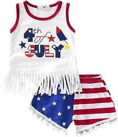 Infant Girls USA Flag Print Sleeveless Vest Tops+Ruffle Shorts 3Pcs Outfits Set