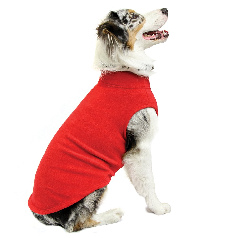Gooby Stretch Fleece Pull Over Cold Weather Dog Vest, Red, 5X-Large