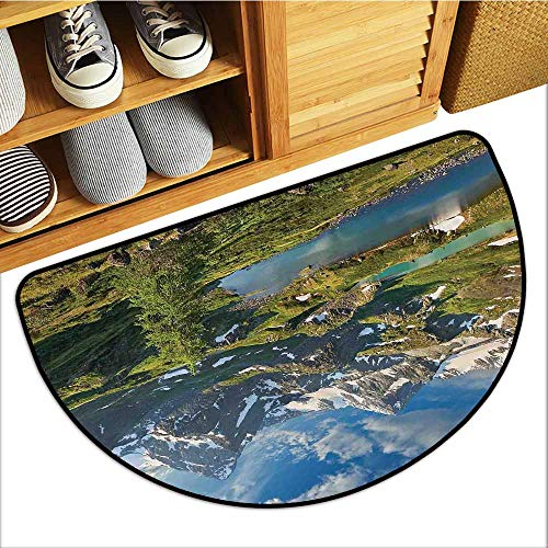 Absorbs Mud Doormat, Landscape Custom Out-Imdoor Rugs for Kitchen, Mountain Lake Russia Siberia Altai Mountains Katun Ridge Snowy Peaks (Green Blue and White, H20 x D32 Semicircle)