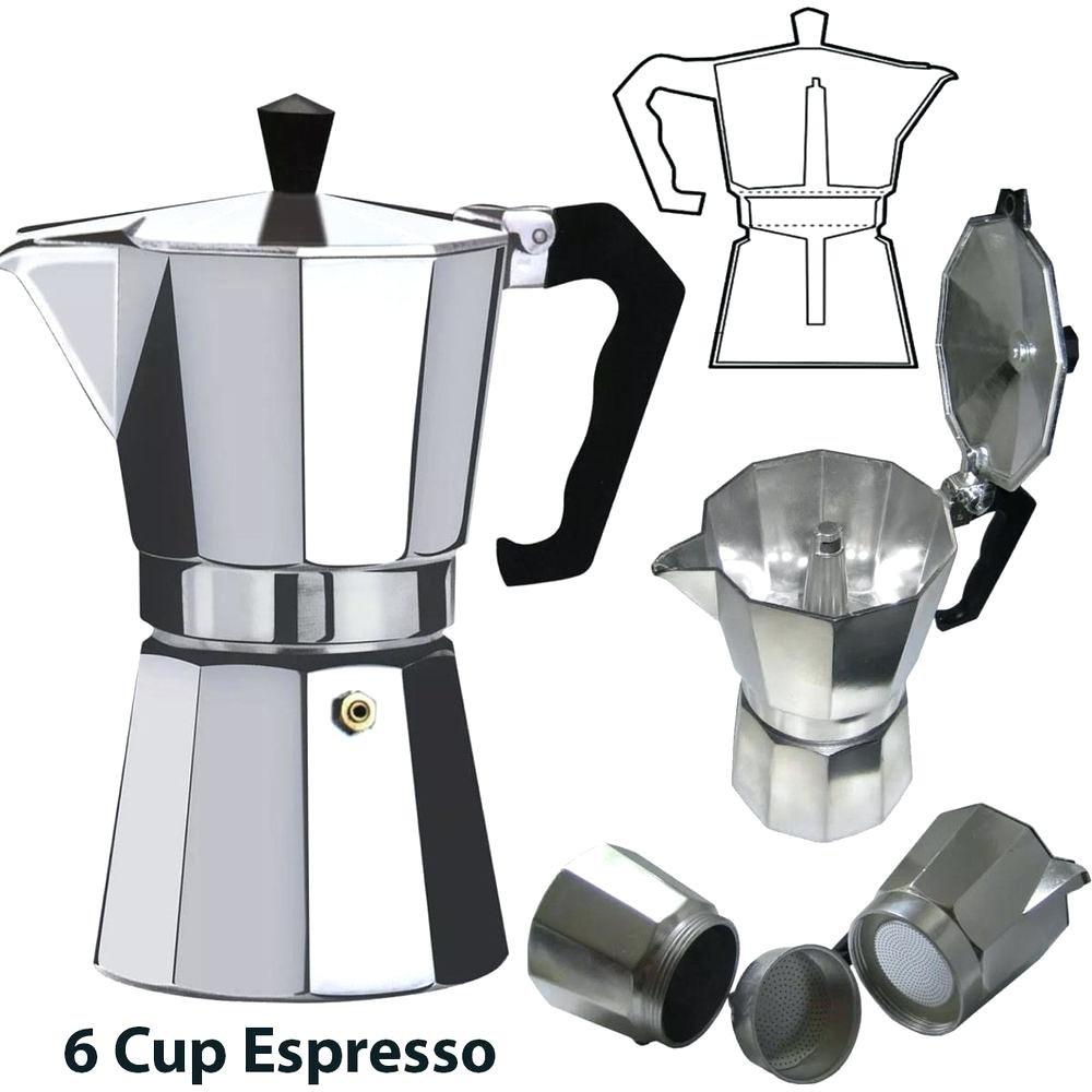 Euro-Home - CaffeXspress 6 Cup Aluminum Espresso Coffee Maker - Barista quality espresso maker. by Euro-Home