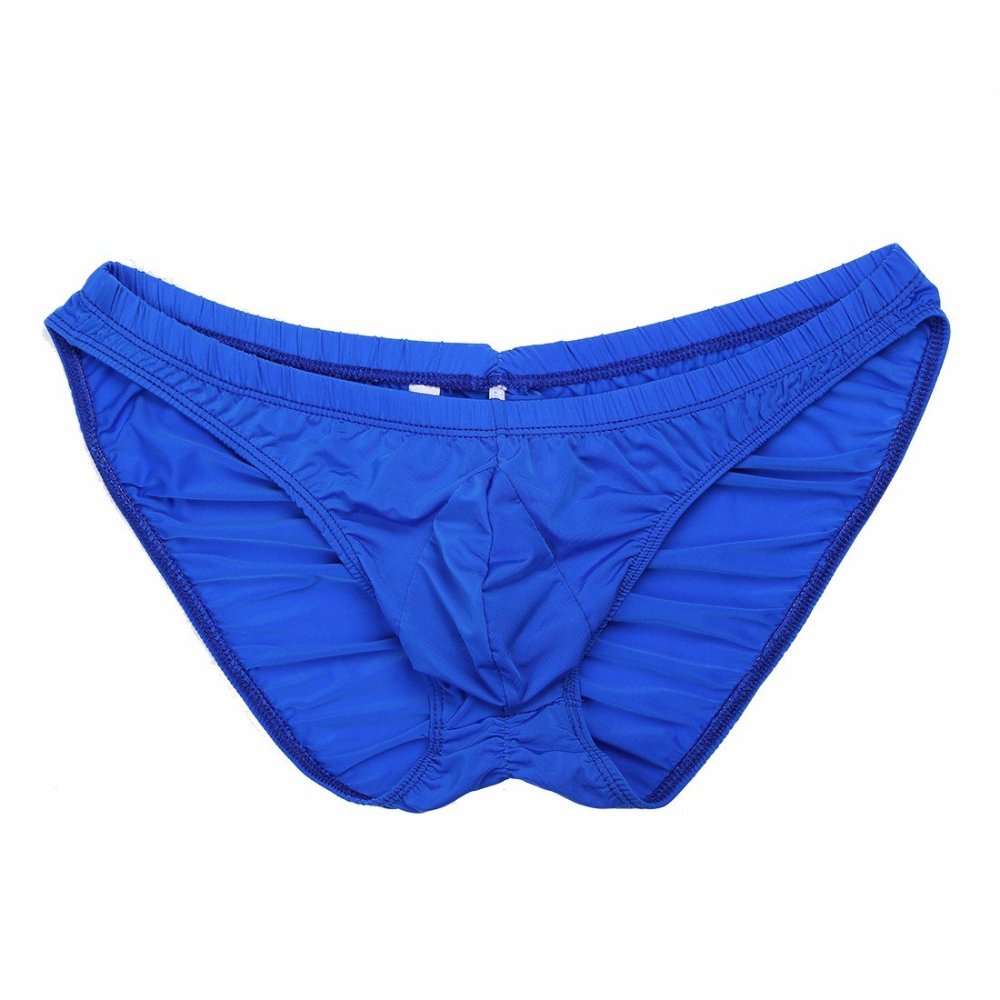 FEESHOW Men's Silky Bikini Briefs Bulge Pouch Underwear Swimwear Ruched Back Blue One Size