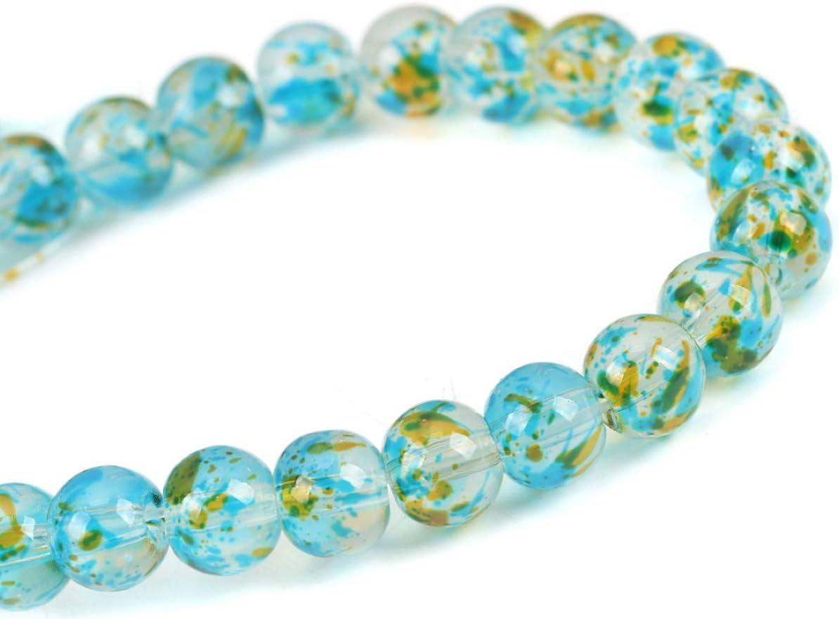 Sadingo - Perlas de cristal azul amarillo 40 unidades 8 mm perlas multicolor atrapasueños manualidades perlas pulsera cadena pendientes pendientes