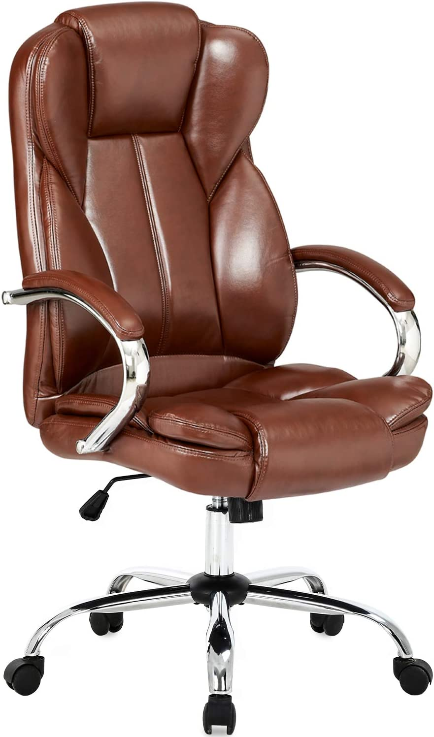 Office Chair Desk Chair Computer Chair with Lumbar Support Arms Headrest High Back Executive Task Rolling Swivel PU Leather Adjustable Ergonomic Chair for Adults Girls Women(Brown)