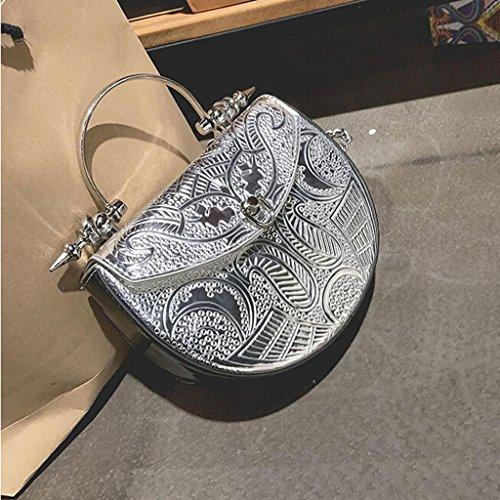 Y&F Frau Retro Schultertaschen Schräges Kreuzpaket Silber-