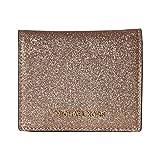 Michael Kors Jet Set Rose Gold Glitter Leather Bifold Card Holder Wallet
