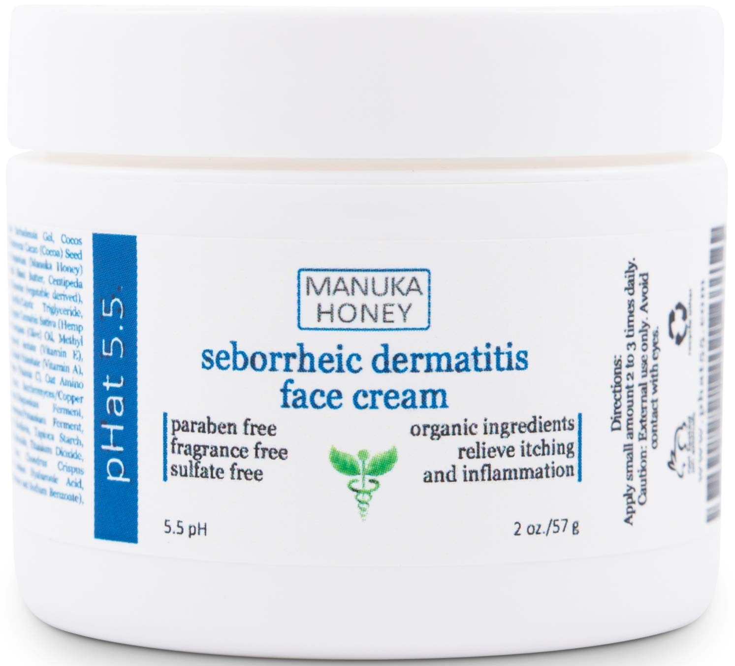 Seborrheic Dermatitis Cream with Manuka Honey, Coconut Oil and Aloe Vera - Moisturizing Face and Body Anti Itch Cream and Skin Treatment for Sensitive Skin - Natural & Organic Cream (2 oz)
