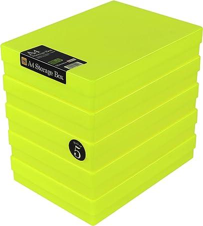 WestonBoxes - Caja de almacenamiento A4 para papel A4 y manualidades (Amarillo Neón, Paquete de 5): Amazon.es: Oficina y papelería
