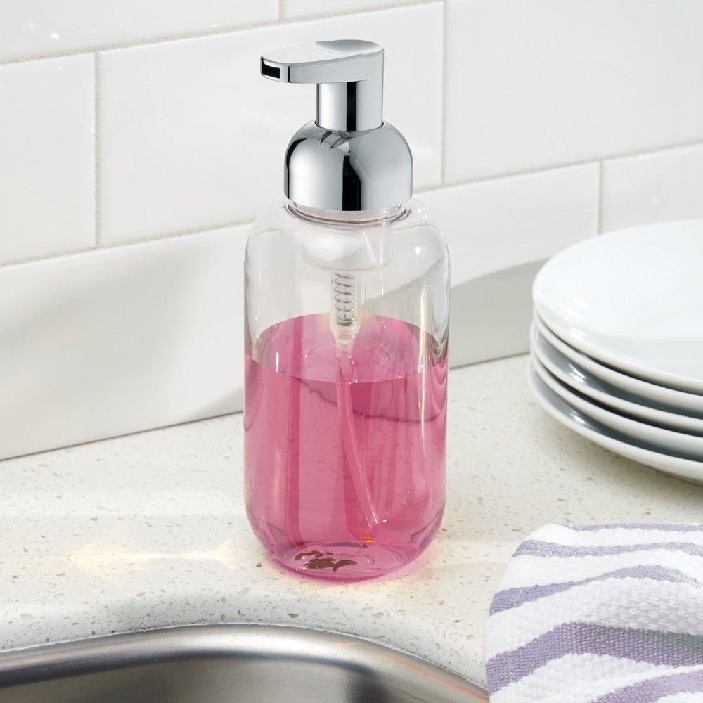 Made of Plastic InterDesign Duo Foam Hand Soap Dispenser Clear//Silver