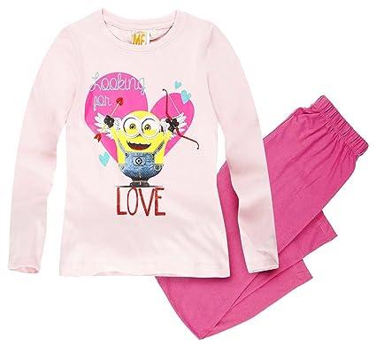 f5138ae808aa9 MINIONS Pyjama Long Enfant Fille Les Rose de 6 à 12ans  Amazon.fr ...