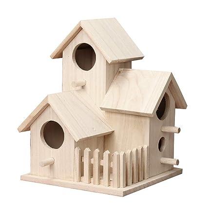 Yncc Vogelhauschen Vogelhaus Mit Holz Silo Holzvogelhaus Nest