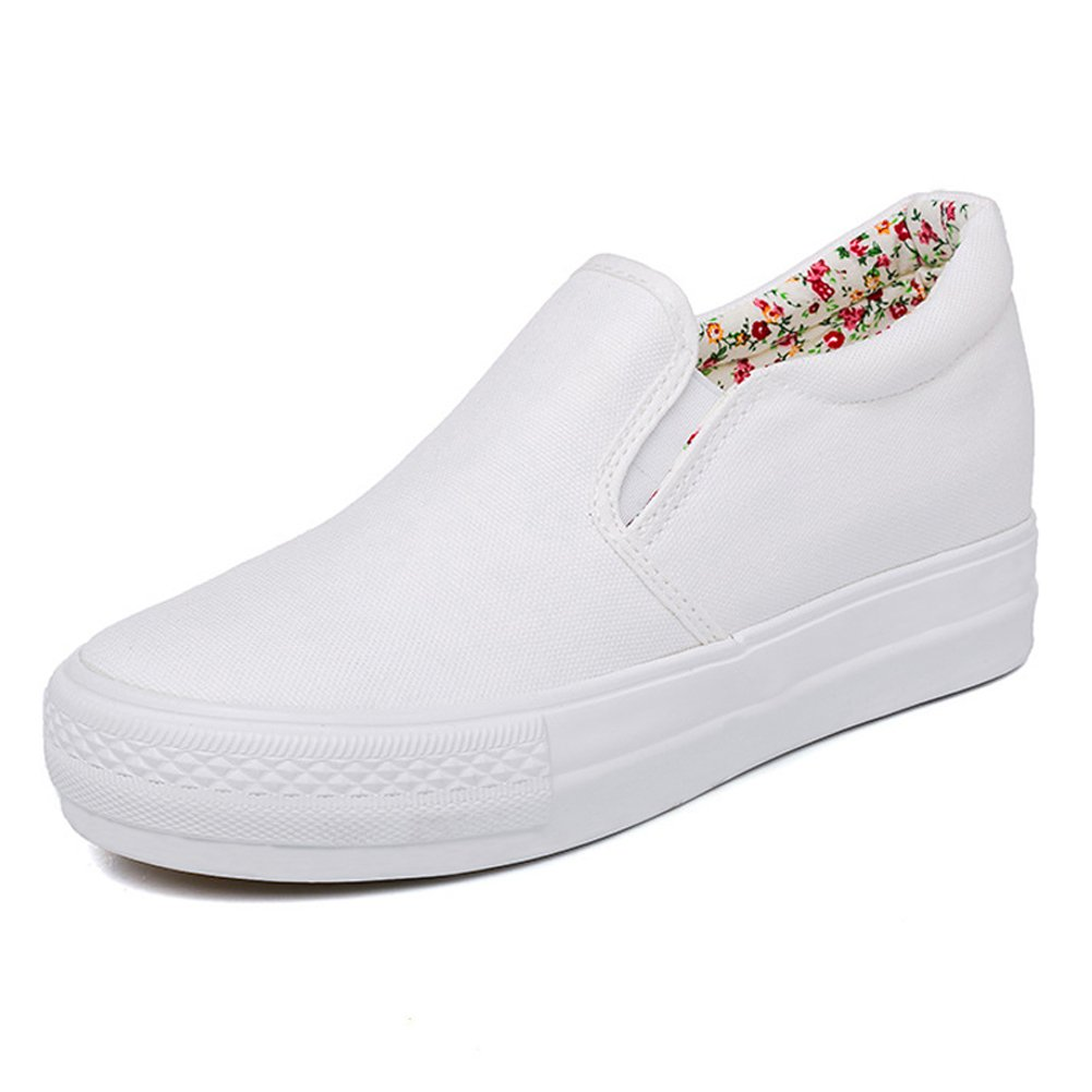 17KM Women White Black Casual Lace up Leather Sneakers Hidden Heel Wedge Flat Floral Shoes Girls