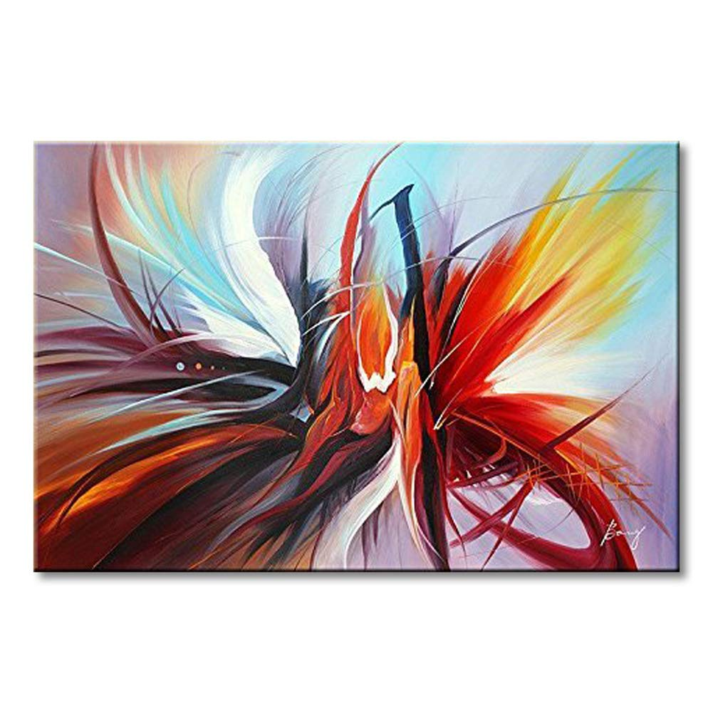 Abstract Canvas Wall Art Handmade Modern Oil Painting Contemporary Artwork Wall Decoration Stretched Ready to Hang (Framed 3624 inch)