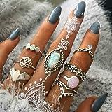 BERYUAN Women 8 Pcs Boho Gem Stone Ring Set Girl Bohemian Knuckle Flower Vintage Silver Crystal Joint Knuckle Ring Set…