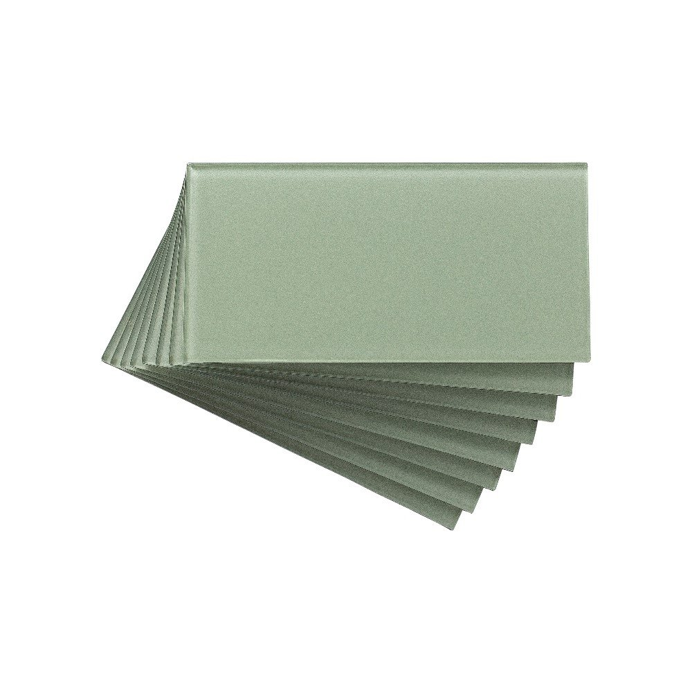 Aspect Peel and Stick Backsplash Kit Fresh Sage Glass Tile for Kitchen and Bathrooms (15 sq ft Kit) by Aspect (Image #4)