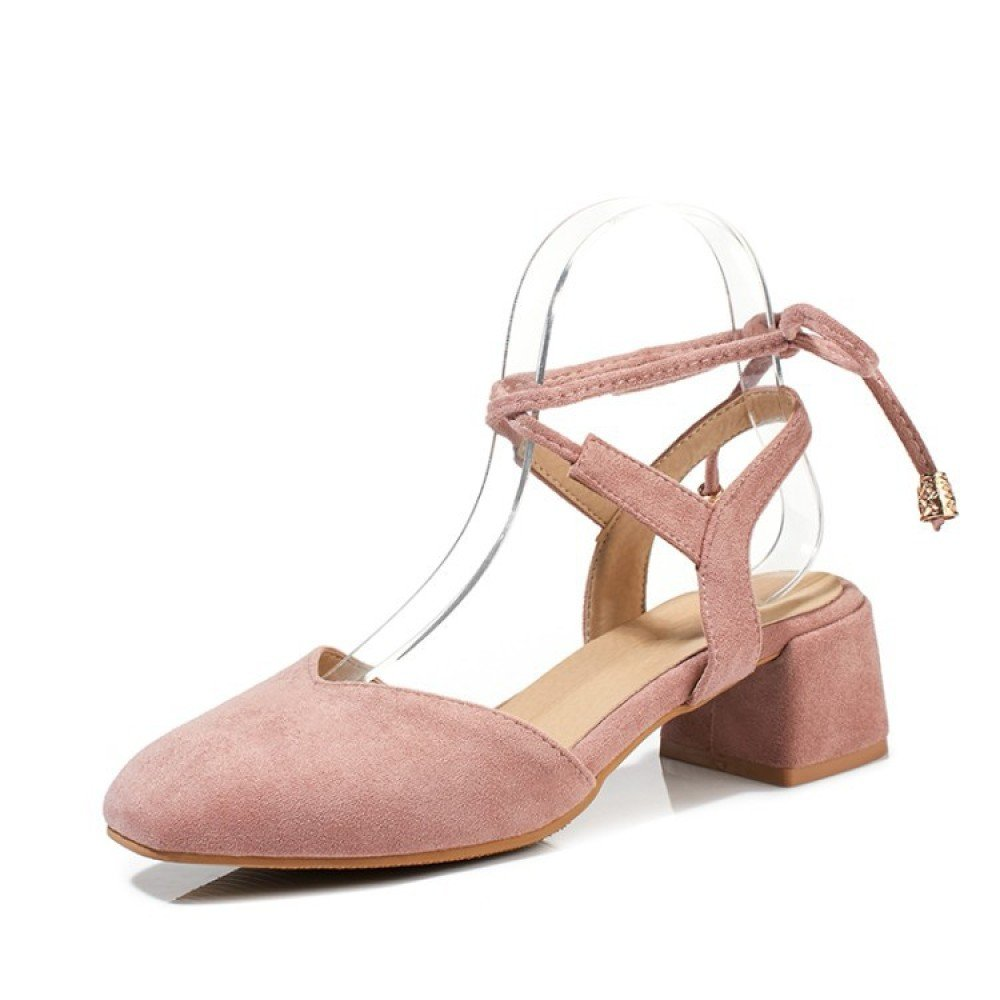 Damen Damen Sling Back Pumps High Block Heels Bequeme Mode Schuhe  38 EU|Pink