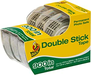 Duck Brand Permanent Double Stick Tape with Dispenser, 1/2-Inch x 300 Inches, Clear, 3-Pack (908397)