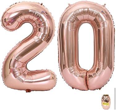 Huture 2 Globos Número 20 Figuras Globo Inflable de Helio Globo de Mylar de Papel Grande Globos Gigantes de Oro Rosa Número de Globo de 40 Pulgadas Para Fiesta de Cumpleaños Decoración Prom XXL 100cm