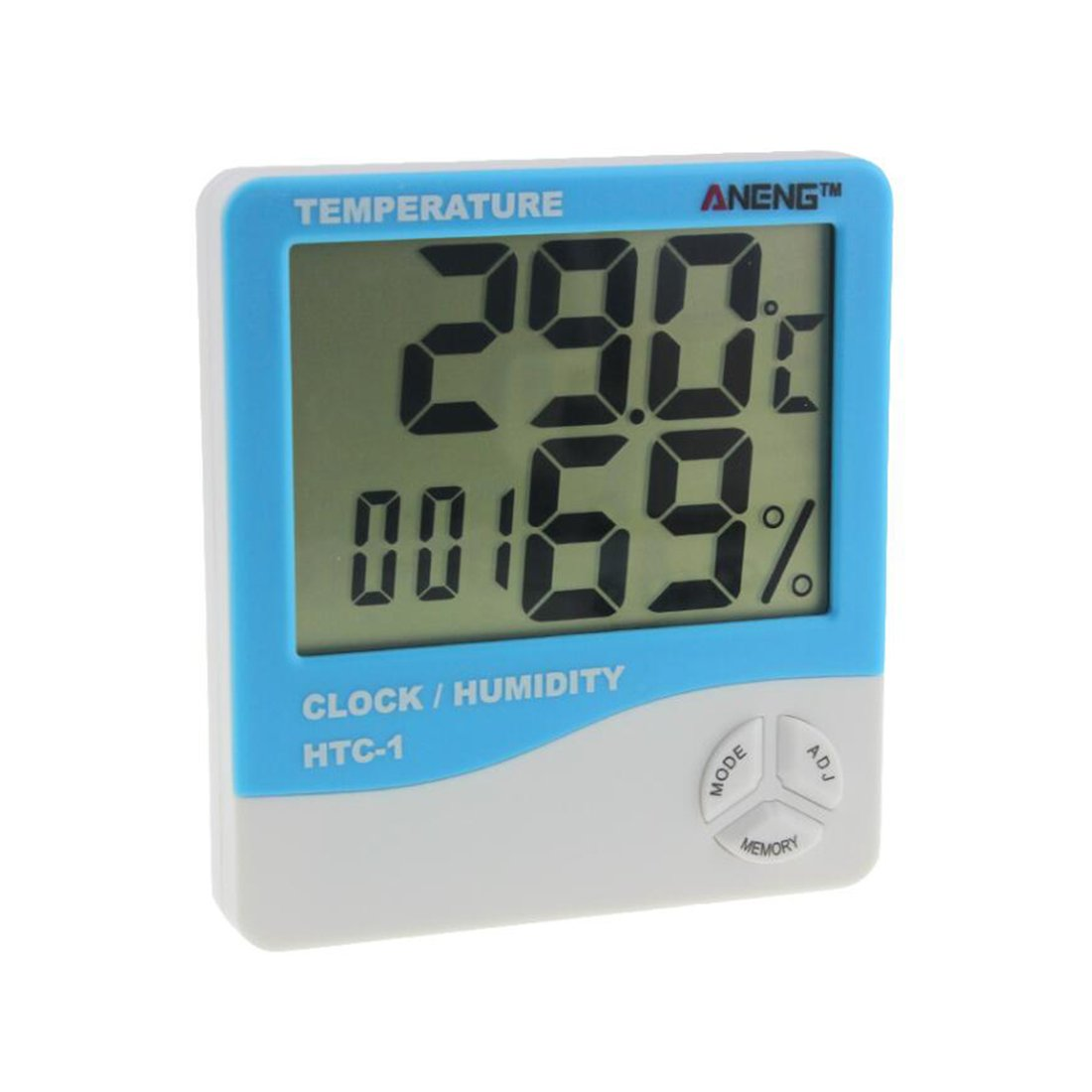 joyliveCY LCD Alarm Clock Thermometer/Humidity Meter, Indoor Digital Humidity Temperature Thermometer Sensor – Blue CY-Buity
