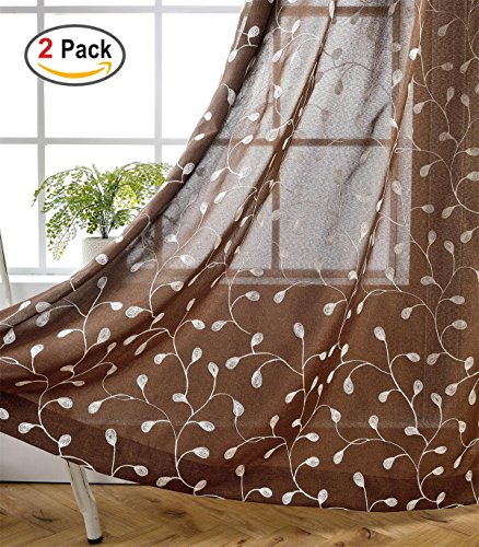 Miuco Floral Embroidery Semi Sheer Curtain Panels Faux Linen Grommet Curtain Pair for Bedroom 52 x 95 Inch, Brown