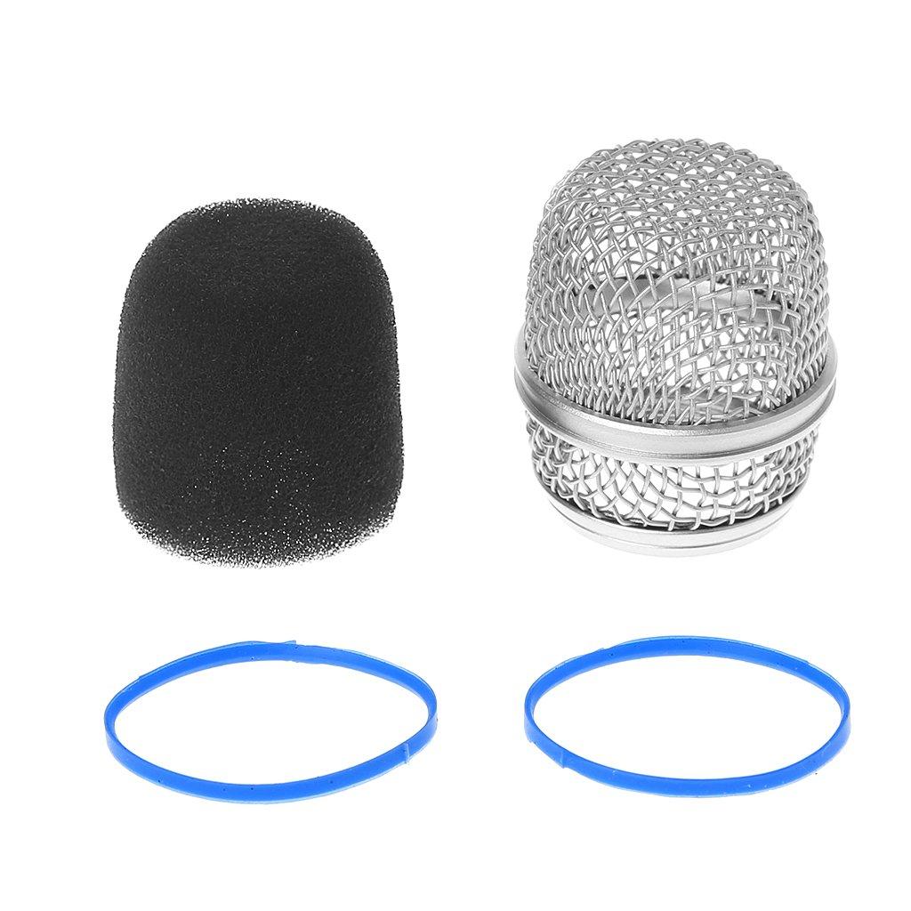 Ranuw Tête de boule de rechange en maille filet Grille de micro Compatible avec pour Shure Beta57a/BETA87A Beta87