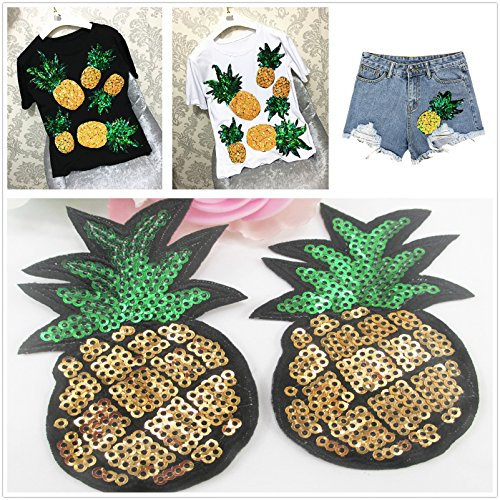 e Bling Pineapple Embroidery Sequins Patch For T shirt Women Tops Short Sleeve Loose O-neck T-shirt Women TeesEmbroidery patch diy clothing patch applique blossom DIY Sewing ()