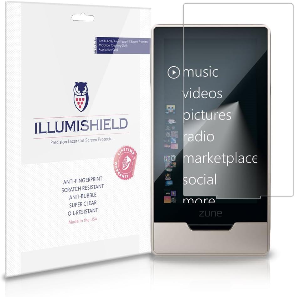 iLLumiShield Screen Protector Compatible with Microsoft Zune HD Clear HD Shield Anti-Bubble and Anti-Fingerprint PET Film 3-Pack