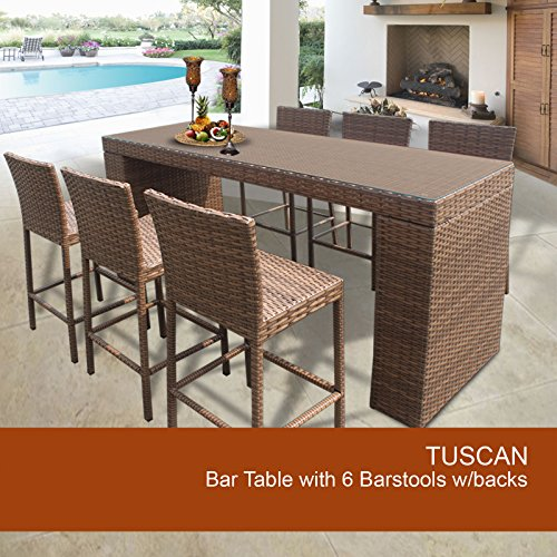 Amazon Tuscan Bar Table Set With Barstools 7 Piece Outdoor Wicker Patio Furniture Lawn Garden