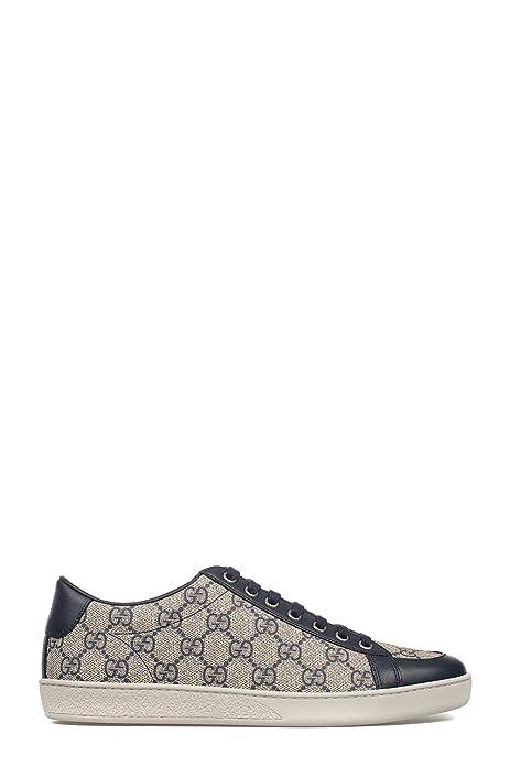 Gucci - Zapatillas de Piel para Mujer Beige/Azul IT - Marke Größe, Color, Talla 40 IT - Marke Größe 40: Amazon.es: Zapatos y complementos