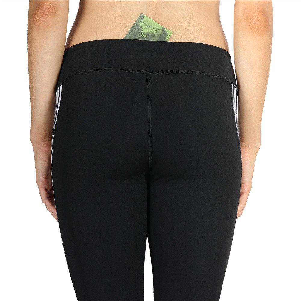 icyZone Capri Yoga Pants Athletic Leggings Workout Clothes Fitness Tights for Women (L, ZEBRA-STRIPE)