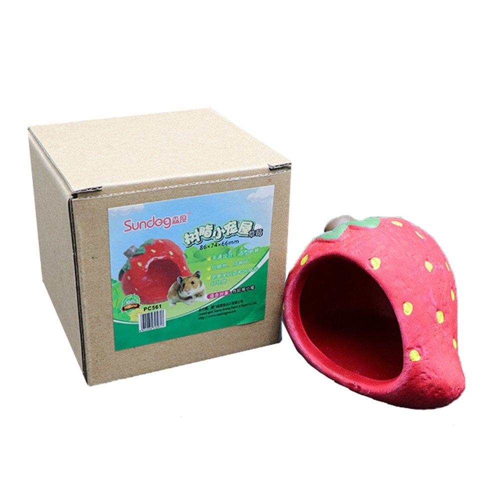 ANONE Hamster/Small Animal Hideout Hamster House Critter Bath (Strawberry)
